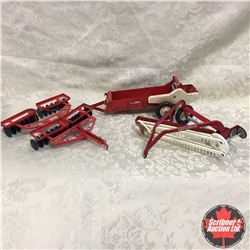 Tray Lot: Combo Implements, IH McCormick  Manure Spreader, Tractor Disc, Hay Rake (Scale: 1/16)