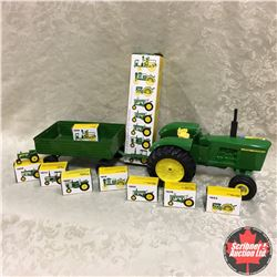 John Deere 5020 w/Wagon of 8 Miniature Toy Tractors (Scale: 1/16)