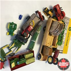 Tray Lot: Variety Tractors, Wagons, Calendar, Wooden Toy, etc