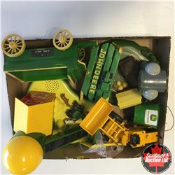Tray Lot: Variety of JD Items: Farm Settings, Loader, Wooden Wagon, etc