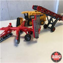 Box Lot: Variety BRUDER Plastic Toys: Discer, Conveyor, CAT Combine