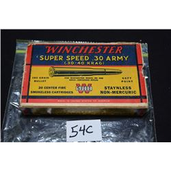 Box of vintage collector Winchester Super Speed .30 Army (.30-.40 Krag) ammunition, containing eight