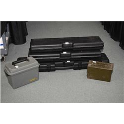 Lot of Five Items : Three Foam Lined Black Plastic Gun Cases [ one long & two short ] - One Cabella'