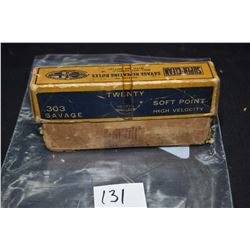 Box of vintage collector Dominion .303 Savage ammunition containing seventeen rounds, some appear or