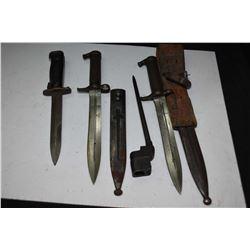 Four vintage rifle bayonets
