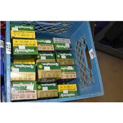 "Blue Plastic Crate : Five Boxes Rem Express Long Range .20 Ga 2 3/4"" # 5 Shot Shells - Twelve Boxes"