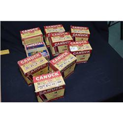 Nine vintage boxes of 25 count 10 gauge shot gun shells