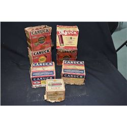 Selection of vintage CIL Canuck shotgun ammunition including five full 10 gauge and one half full an