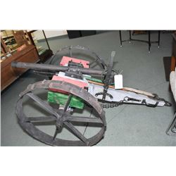 "Large Hand Made Cannon 2 "" Diameter Barrel , Approx. 40"" Long, Approx. 40"" Width, w/ two ammunition"