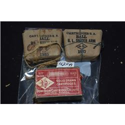 Three boxes of vintage collector ammunition including two factory bundled B.L. Snider Arm and a full