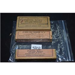 Three full boxes of vintage collector .45 cal, model of 1911 ammunition including two twenty round s