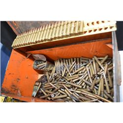 Metal ammunition crate containing a large selection of rifle ammunition including loose clips and be