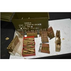 Metal ammunition crate containing large selection of mixed rifle ammo. mostly vintage