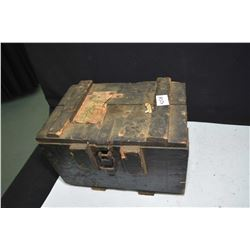 Wooden box containing a large selection of mil surp. ammunition mostly in zip clips and head stamped