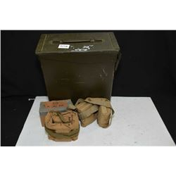 Metal ammunition crate containing with pouch and box of .303 ball ammunition