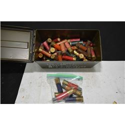 Metal ammunition box approximately 2/3 full of .8 and .10 gauge shot gun ammunition