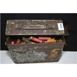 Metal ammunition crate of loose vintage .20 gauge shot gun ammunition