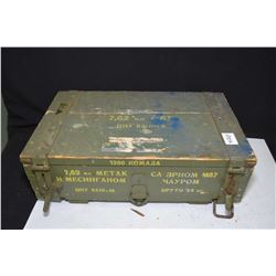 Wooden ammunition crate with loaded belt of .303 blank plus a few stripper clips