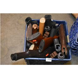 Blue Plastic Crate : Approx. Six Composite Butt Stocks - One Wooden Forend - Twelve Wooden Butt Stoc