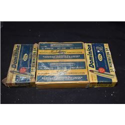 Four boxes of Dominion .32 Remington vintage collector ammunition including two full boxes, plus one