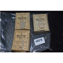 Three full boxes of ten rounds of vintage 7.55mm Kaliber collector ammunition for Gewehr und Karabin