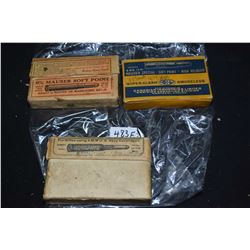 Three boxes of vintage collector ammunition including a full box of UMC 6mm US Navy, note not all ro