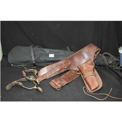 Selection of Western style collectibles including hip holster, a pair of spurs and a rifle scabbard