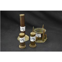 Selection of trench art including salt and pepper shakers, small bowl and a lighter