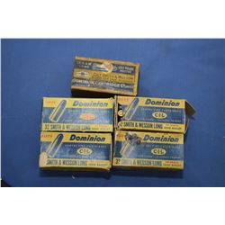 Five boxes of Dominion fifty round .32 S&W long vintage collector ammunition including four full box