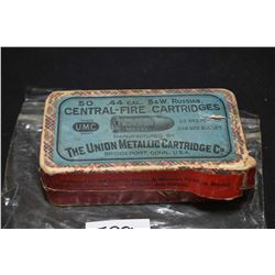 Box of Union Metallic Cartridge Company .44 S&W Russian cal. collector ammunition, containing twenty