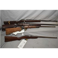 Lot of Four Firearms : Savage Model 3 C .22 LR Cal Single Shot Bolt Action Rifle w/ 26  bbl [ pitted
