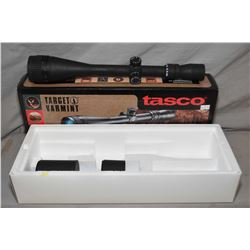 Tasco Target Varmit rifle scope, 10.40 X 60 mm, 1/8th MOA, dot style reticule, matte black finish, c
