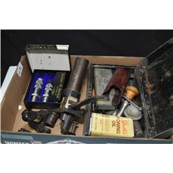 Selection of firearms accessories including reloading items, Lyman .22 Savage dies, tin box with min