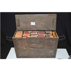 Wooden ammunition crate with approximately 360 rounds of mostly paper wrapped .12 gauge ammunition