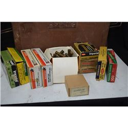 Wooden ammunition crate with five 20 count boxes plus extras of .303 British ammunition