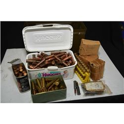 Metal ammunition can containing large selection of predominately 7.62 ammunition, some in factory pa