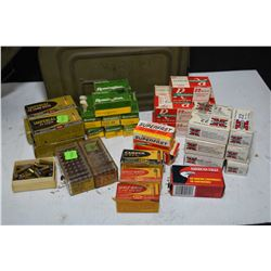 Metal ammunition can with large selection of .22 LR ammunition, assorted makers