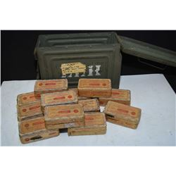 Metal ammunition box containing twelve full boxes of .38 Colt automatic smokeless made by Remington