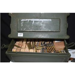 Metal ammunition box containing forty two boxes of 8mm ammunition in 5 round clips plus loose rounds