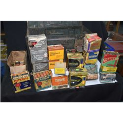 Metal ammunition box containing 26 boxes of .12 gauge ammunition, mostly vintage