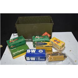 Metal ammunition box containing six 50 round boxes of .38 Smith & Wesson, three 50 count boxes of .3