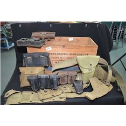 Wooden high explosive box containing assorted webbing including holster, leather pouches, pouches et