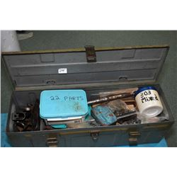 Metal ammo. box containing gun parts including bolts, receivers, forends, sights, trigger groups etc