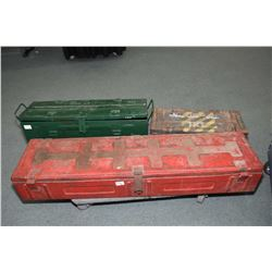 Three vintage metal ammunition boxes in graduated sizes