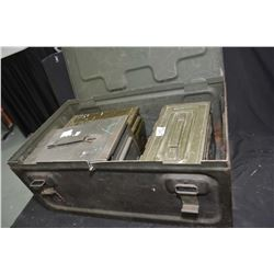 Larger WWII metal ammunition case containing three smaller ammo. cases