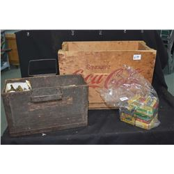Vintage wooden Coca-cola box containing bullet components including brass, shot and bullets (no powd