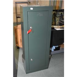 Single door green Stack On style gun cabinet with two locks and two keys