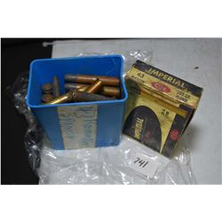 Imperial .43 Mauser 20 count box with 19 rounds, blue plastic container containing a selection of ri