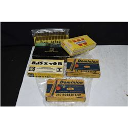 Selection of ammunition including a full 20 count box of 7 X 64 Dynamit Nobel, a 20 count box of .34