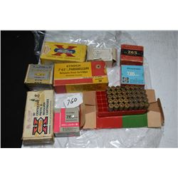 Three boxes of 7.65 mm Parabellum ammmunition including a full 50 count box of Kynoch, a 50 count bo
